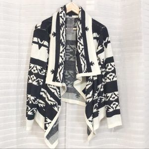 Moon Collection tribal open front drape cardigan S
